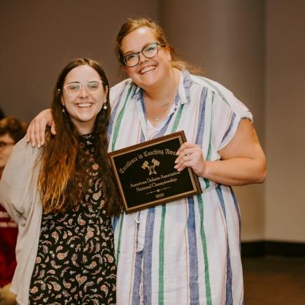 2020 Award Winner, Carly Wunderlich (Right) and Presenter, Margaret Strong (Left)